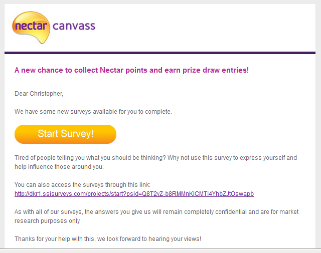 Nectar Canvass Email