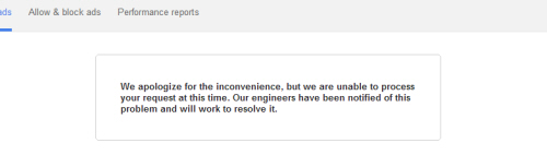 Adsense fail message