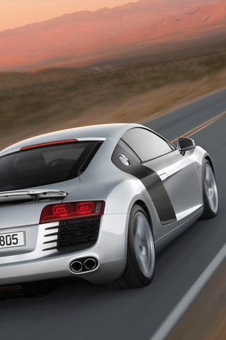 Rear view of an Audi R8 in silver