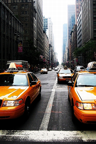 Famous orange New York taxis