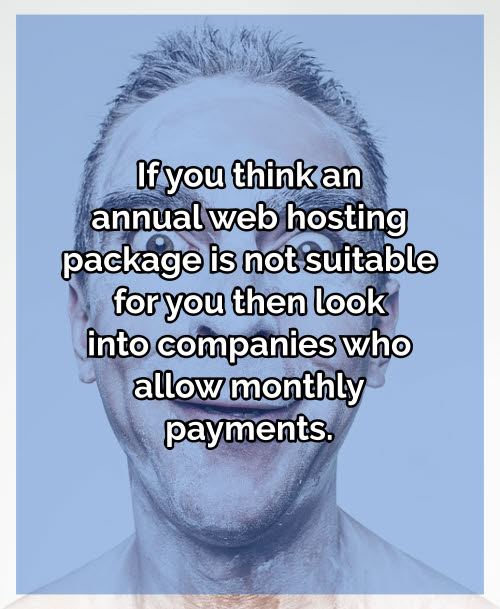 Pay monthly for your server space