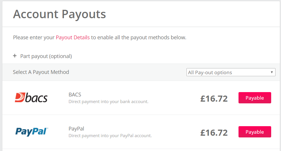 Normal payout options
