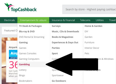 Casino cashback offers on Topcashback