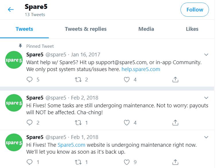 Spare5 no communications